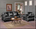 Traditonal Living Room Set in Dark Chocolate Leather, 'Scorpio' Collection by Homelegance. (SKU: HE-Scorpio9834DC-LVNGSET)