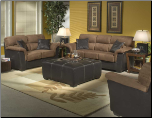 Two-Tone Brown Microfiber with Bi-cast Vinyl Accents Living Room Set, 'Wexford' Collection by Homelegance. (SKU: HE-Wesford9882-LVNGSET)