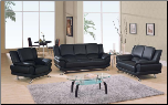 Global  - Modern Sofa and Loveseat Set with Leather Finish Set by Global USA (SKU: GL-L9908-BLSET)