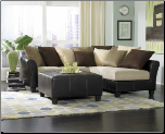 Two Toned Sectional in Brown Bella Microfiber and Bi-Cast Vinyl, 'Carrington' Collection by Homelegance. (SKU: HE-9917 -SECTIONAL)