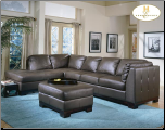 Sectional with Merlot Finish Wood Base, 'Tufton' Collection by Homelegance Furniture. (SKU: HE-9958BR-SECTIONAL)