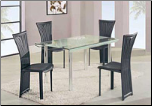 Casual Stylish Dining Room Set with Rectangular Glass Top Table by Global Furnither USA (SKU: GL-A818-BLDSET)