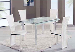 Casual Stylish Dining Room Set with Rectangular Glass Top Table by Global Furnither USA (SKU: GL-A818-WHDSET)