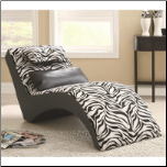 Accent Seating Modern Zebra Print Furniture Chaise Coaster 550071