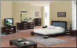 Queen - Verona Modern Wenge /Mahogany  Finished Bedroom Group with Platform Bed Set by Glboal Furnither USA (SKU: GL-B99-WQSET)