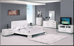Queen - Verona Modern White Finished Bedroom Group with Platform Bed Set by Glboal Furnither USA (SKU: GL-B99-WHQSET)