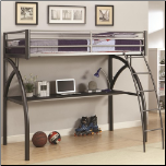 Metal Twin Workstation Loft Bed with Desk and Curved Ladder (SKU: CO-460110)