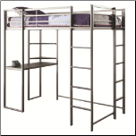 Metal Twin Workstation Loft Bed with Desk and 2 Ladders (SKU: CO-460230)