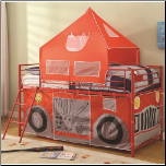 Twin Fire Engine Loft Bed with Attached Ladder and Safety Rails (SKU: CO-460330)