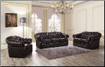 ESF  - 128  ITALIAN LEATHER 3 PCS LIVING ROOM SET WITH RHINESTONES (SOFA, LOVESEAT AND CHAIR) BY ESF FURNITURE