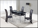 Glass Topped Dining Set with Bottom Shelf (SKU: GL-D1058DT  D1058DC)