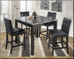 Maysville Black Square Counter Height Dining Set with Gray Faux Marble Top Table (SKU: AB-D154-223)