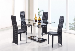 Global Furniture - Jord Glass Dining Table in White Stripe - D2108N-DT-BS (SKU: GL-D2108DT-FR  D027DC-BL)