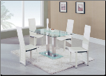 Global Furniture - Jord Glass Dining Table in White Stripe - D2108N-DT-BS (SKU: GL-D2108DT-FR  D027DC-WH)