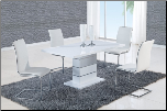 D470DT Dining Set 5Pc w/490DC White Chairs by Global Furniture