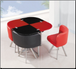 Global Furniture Modular Red and Black Table Set with 4 Chairs D536DT/R/BL/5PC (SKU: GL-D536DT-R/BL)