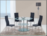 D79DT Dining Set 5Pc w/475DC Black Chairs by Global Furniture