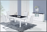 TICUN - 5PC MODERN GLASS DINING TABLE & 4 BLACK CHAIRS (SKU: GL-D8055DT  D490DC-BL)