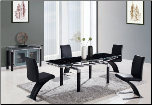 5 - Pc Black Dining Table Set D88DT-BL, D88DC-BL By Global Furniture