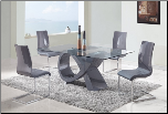 Global Furniture - 5 Piece Rectangular Glass Dining Table Set - D989DT-5Set (SKU: GL-D989DT  D989DC)