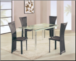 DA818 Dining Set 5Pc w/Black Chairs by Global Furniture USA