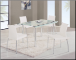 D470DT Dining Set 5Pc w/490DC White Chairs by Global Furniture (SKU: GL-DA818L-DT  DB841DC-WH)