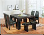 D470DT Dining Set 5Pc w/490DC White Chairs by Global Furniture (SKU: GL-DG020DT  DG020DC-BR  DG020BN-BR)
