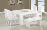 7- Pc White Dining Table Set DG020DT-WH, DG020DC-WH, DG020BN-WH By Global Furniture
