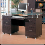 Decarie Glass Top Contemporary Double Pedestal Desk by Coaster