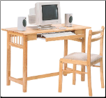 Desks Casual Table Computer Desk and Chair with Fabric Seat by Coaster