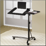 Desks Laptop Computer Stand with Adjustable Swivel Top and Casters by Coaster