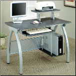 Desks Contemporary Computer Desk with Keyboard Tray and Computer Storage by Coaster