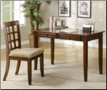 Desks Wood Table Desk with Two Drawers & Desk Chair by Coaster