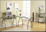 "Ferguson Contemporary Metal ""L"" Shaped Computer Desk with Glass Top by Coaster (SKU: CO-800450)"