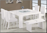 Glossy White Finished Dinette with Glass Inset Table  By Global Furniture USA (SKU: GL-G020DT-WHSET)