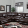 Brown Bonded Leather Sectional Sofa with Decorative Stitching