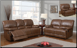 Brown Bonded Leather 2 PC Reclining Sofa Set with Accent Stitching (Sofa, Loveseat and Recliner)