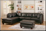 Dark Color Bonded Leather Sectional with Deep Cushion Seating, 'Morgan' Collection by Homelegance.