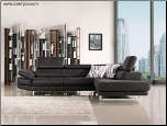 J & M Italia Modern Black Sectional Sofa Ultra Soft Fabric - Chaise on Right (facing) 17716 (SKU: JM-MM35259)
