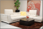 J & M Furniture Modern Beige Leather Sofa Sectional - 5166 (SKU: JM-5166)