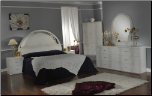 LAURA WHITE/GRAY BED GROUP BEDROOM SET BY GLASS-FORM COLLECTION