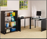"Lawnview Contemporary ""L"" Desk with Black Glass Top by Coaster (SKU: CO-800457)"