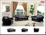 ESF  -  VERSACHI BLACK  ITALIAN LEATHER 3 PCS LIVING ROOM SET WITH RHINESTONES (SOFA, LOVESEAT AND CHAIR) BY ESF FURNITURE