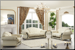 ESF  -  VERSACHI BEIGE  ITALIAN LEATHER 3 PCS LIVING ROOM SET WITH RHINESTONES (SOFA, LOVESEAT AND CHAIR) BY ESF FURNITURE