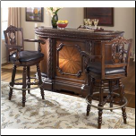 North Shore  -  Bar with Marble Top & Two 30 Inch Swivel Bar Stools Signature Design by Ashley Furniture (SKU: AB-D553-S4)