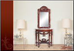 Console Table and Mirror with Cherry Finish (SKU: EM-405)