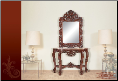 Console Table and Mirror with Cherry Finish & Marble Top