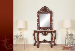 Console Table and Mirror with Cherry Finish & Marble Top (SKU: EM-420)