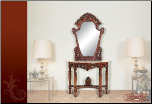 Console Table and Mirror with Cherry Finish & Marble Top (SKU: EM-427)