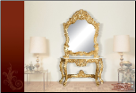 Antique Gold Finish Design Base Table  Mirror Console Set (SKU: EM-426)